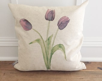 Tulips Watercolor Pillow Cover