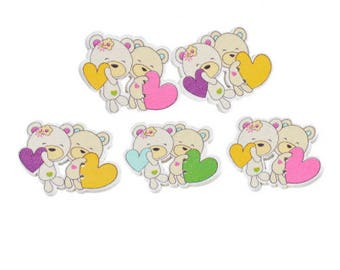 Set of 5 Cubs love wooden buttons