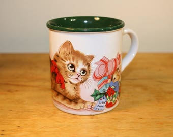 Vintage Cat Holiday Mug - Cat and Mouse