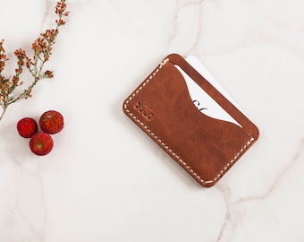 Personalized Front Pocket Wallet,  Business Card Holder, Slim Leather Wallet, Gift For Dad, Minimalist Pocket Wallet, Credit Card Case,
