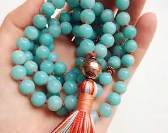 Amazonite Mala Beads 108 Prayer Beads, Mala Necklace, Yoga Jewelry, Spiritual Jewelry, Healing Calming Energy, Balance