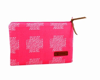 Clutch in Pink Cotton Fabric for cosmetics, essentials. travel, casual, gift, dressy purse