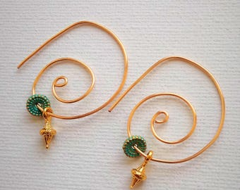 Gold Wire Earrings, dangle earrings with beads, everyday jewelry, Spiral earrings, modern spiral hoop earrings, wire hoop earrings