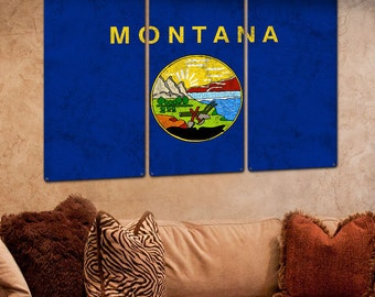 """Montana State Flag,  The Treasure State, Triptych Metal Sign, Wall Decor, Wall Art, Vintage, 54""""x36"""""""
