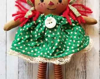 St. Patrick's Day Ornament Sized Annie - Primitive Raggedy Ann Dolls (HAFAIR)