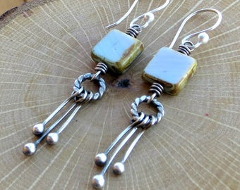 Sterling Silver Earrings, Picasso Glass Earrings, Light Blue Lavender Earrings, Eco Friendly Jewelry, Gifts for Her
