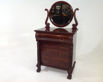 Antique mahogany  Empire dresser with mirror with claw feet