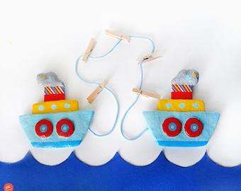 Kids Art Display, Boats Display Hanger, Artwork Display, Kids Artwork, Nautical Art, Papier Mache Boat, Boy Room Decor, Nursery Room Decor