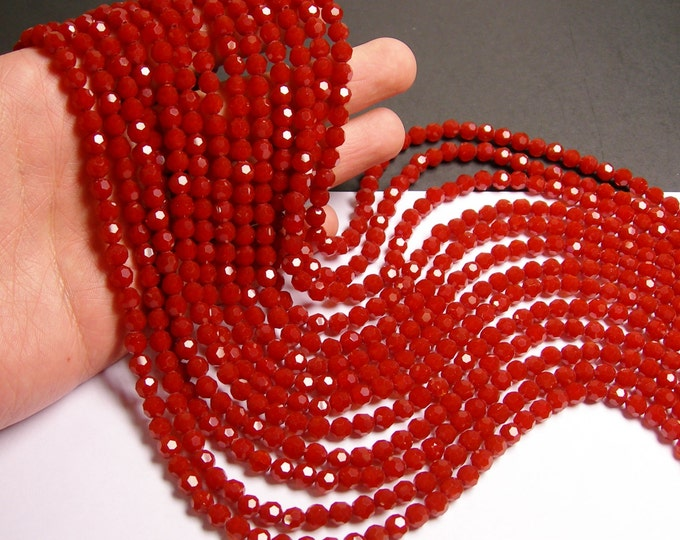 Crystal - round faceted 6mm beads - 72 beads - AA quality - coral red  - matte - Full strand