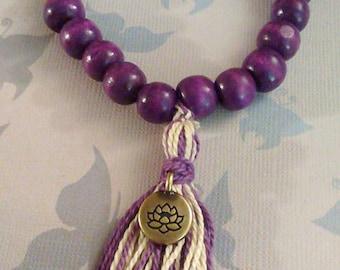 Purple Wood Beads Tassel Buddha Lotus Charm Bracelet