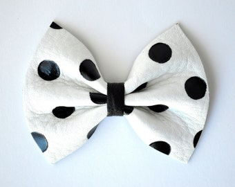 White Leather Black Polka Dot Leather Bow Clip for Newborn Baby Little Girl Child Adult Photo Prop Holiday Beautiful Pictures