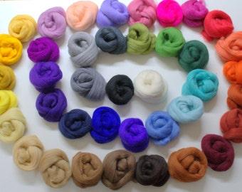 40 colors (170 gr or 6 oz )of Merino wool tops
