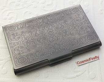 Business card cases etsy card holder antiqued silver gray business card case victorian steampunk card holder metal card wallet reheart Images