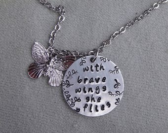 with brave wings she flies, Hand Stamped Charm Necklace, Butterfly Charm, Graduation Gift, Inspirational, Empowerment Jewelry, Butterfly