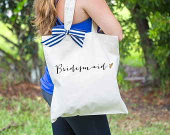 Wedding Bags for Bridal Party, Bridesmaids and Bride Canvas Tote Bags Stripes & Glitter Bag for Wedding Bridal Party  ( Item - BBR300)