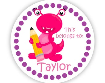 Name Label Stickers - Pink Monster, School Pencil, Purple Dots, School Monster Personalized Name Tag Stickers - Back to School Name Labels