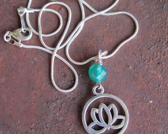 Silver Lotus Charm with Green Onyx Faceted Stone on Snake Chain Necklace - Yoga Jewelry - Zen Jewelry - Lotus Necklace