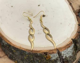 Gold Glitter Swirl Earrings, Gold Filigree Drop Earrings, Delicate Sparkle Gold Dangle Drop Earrings