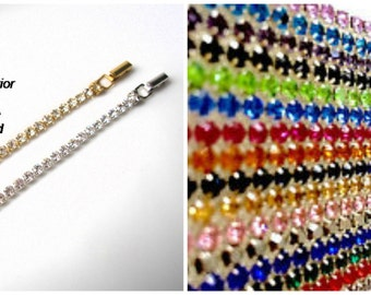COLORED Rhinestone Necklace Extender  SILVER Extender Fold-Over Clasp  Chain Extender Necklace Lengthener Gold Extender Necklace Extension