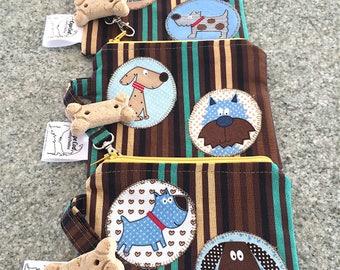 Leash Bag, Pet Treats Bag, Dog Pouch, Dog Training Pouch, Puppy Treats Bag, Reusable Zip Bag, Reusable Snack Bag, Dog Lovers, Whimsical Dogs