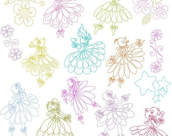 Instant Digital Download Set of 15 Line work Fairy Dancers 2 sizes incl 4X4 & 5X7 Machine Embroidery Designs