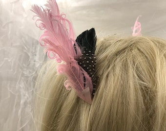 Pair of Pink and Black Feather Hair Clips, Matching Feather Fascinators, Feather Accessorie, Pink and Black Feather Barrettes,Boho Clip