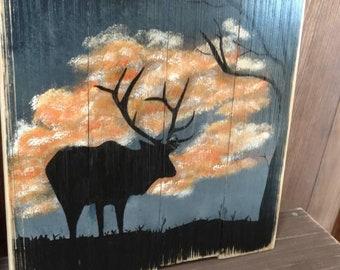 Handpainted Elk Pallet Art