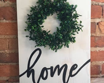 Hand painted HOME sign with Boxwood Wreath, Boxwood Wreath sign, farmhouse sign