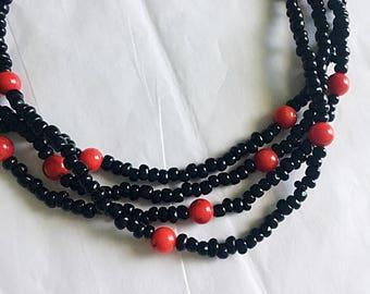 Beaded Wrap Necklace • Beaded Necklace • Wrap Necklace • Black Beaded Necklace • Black and Red Beaded Necklace • Long Beaded Necklace
