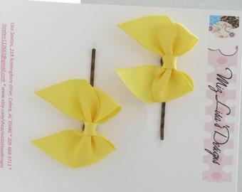 nhp-Yellow Bow Hair Pins