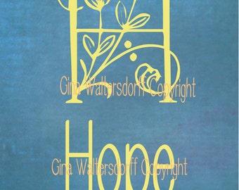 Typography digital file hope gold blue decor flowers hope wall decor DIY, Sunday school gifts letter HOPE encourage Gina Waltersdorff