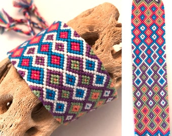 Friendship bracelet - cuff - wide - diamond pattern - bright - embroidery floss - handmade - macrame - string - woven - thread - knotted