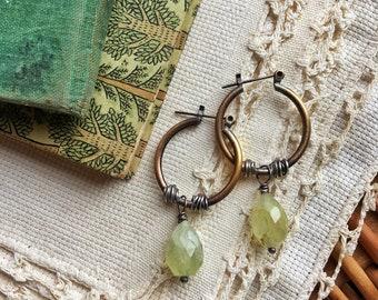 Prehnite Brass and Sterling Earrings