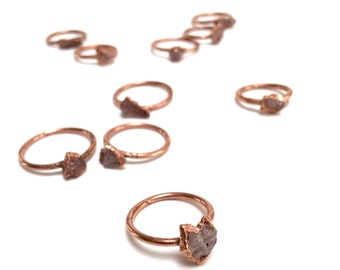 Alternative Engagement Ring // Raw Rose Quartz Copper Electroformed Rings // Raw Stone Ring // Heart Chakra Ring // Boho Jewelry