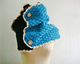 Giant Hood, Extra Large Crochet Cowl, Black Blue Oversized Neck Warmer, Winter Scarf