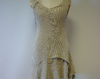 Summer asymmetrical knitted boucle tunic, M size. Only one sample.