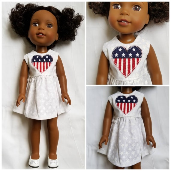 July 4th Dress With Appliqued Heart for Wellie Wisher Doll 14 Inch