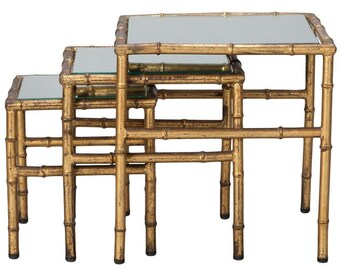 Italian Set of Three Faux Bamboo Gilt Metal Nesting Tables