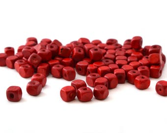 100 Red cubes are 5mm wooden