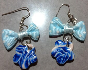 Blue rose cane, blue bow with white polka dots flower shape earrings