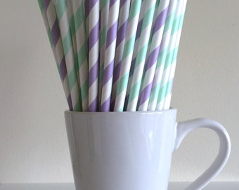 Mint Green and Light Purple Striped Paper Straws Mint and Lavender Lilac Party Supplies Party Decor Bar Cart Cake Pop Sticks Graduation