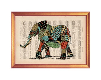 Elephant Poster on book page illustration wall art decor print handmade illustration on dictionary book page printed in old dictionary page