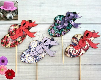 Red Hat Cupcake Toppers Fancy Lady Hats Red Hat society Party Decorations Cake Cupcake Toppers