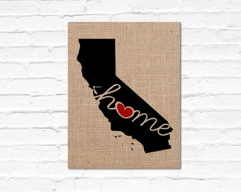 """California (CA) """"Love"""" or """"Home"""" Burlap or Canvas Paper State Silhouette Wall Art Print / Home Decor (FREE SHIPPING)"""