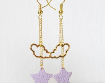 CLOUD and star leather earrings
