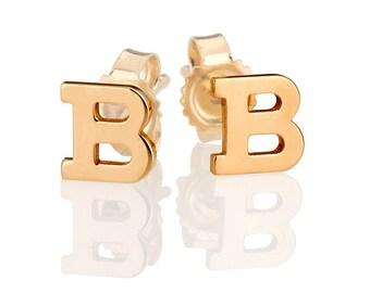 14k gold initial earrings, gold letter studs, personalized earrings