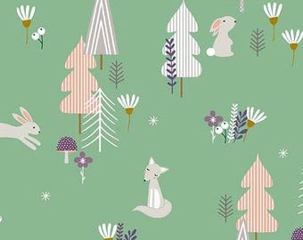 Forest Talk in GREEN by Cathy Nordstrom from Andover Fabrics - 1/2 yard