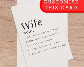 Custom birthday card etsy custom wife card blank birthday anniversary customisable personalise card personalized name text custom romantic bookmarktalkfo Images