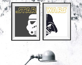 Star Wars Cross Stitch pattern, Darth Vader Pattern, Stormtrooper Pattern, star wars embroidery, PDF Yoda movie boys funny Counted chart