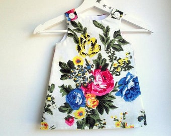 """""""FANNY"""" 6-24 months, evolutionary, flowers, white, multicolored, cotton dress"""